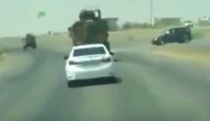Şırnak'tan skandal görüntüler, zırhlı araç sivil aracı taciz ediyor
