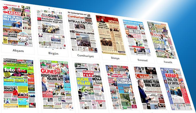 Gazetelerin bugünkü manşetleri 13 Temmuz 2017