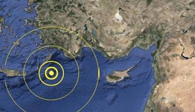 Akdeniz'de 4,6 büyüklüğünde deprem