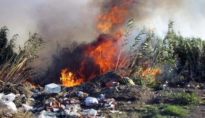 Sazlık yangını ilçeyi duman altında bıraktı