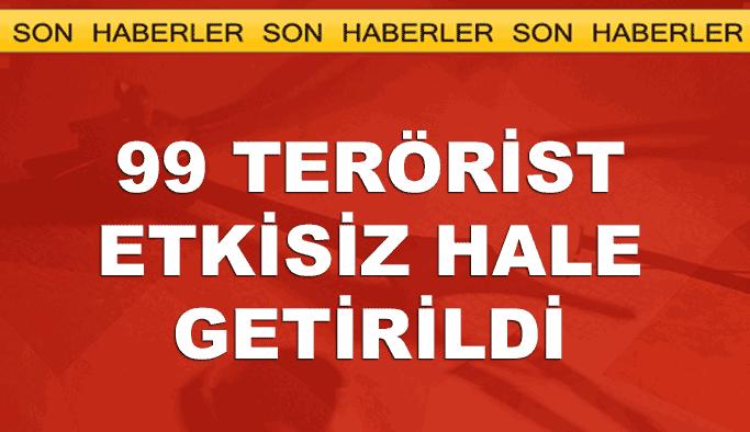 TSK: 99 terörist etkisiz hale getirildi