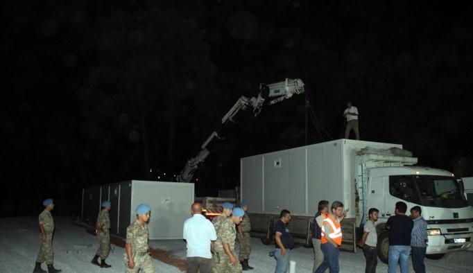 Yangınzedeler için konteynerler kurulmaya başlandı