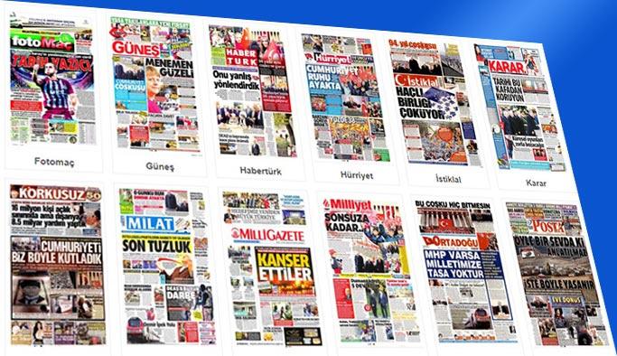 Gazetelerin bugünkü manşetleri 30 Ekim 2017
