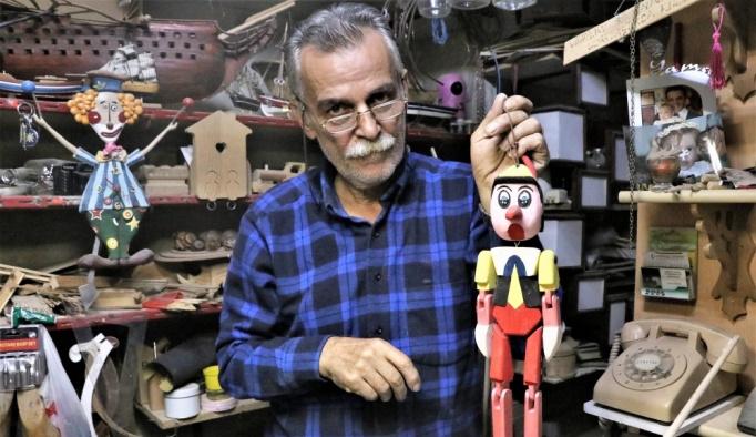 Mehmet ustanın elinde ahşap malzemeler sanata dönüşüyor
