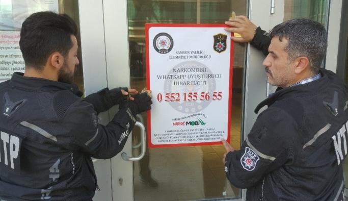 """Samsun sokaklarına """"NARKOMOBİL""""e ihbar afişi asıldı"""