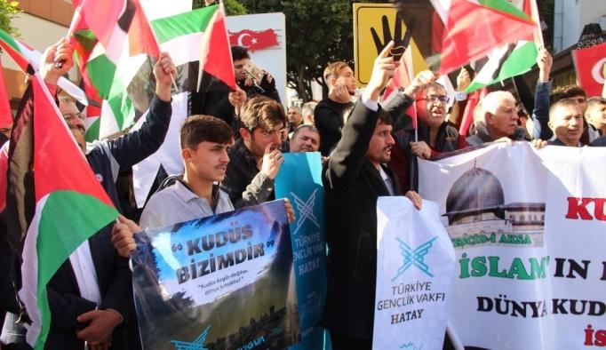 İsrail ve ABD İskenderun'da protesto edildi