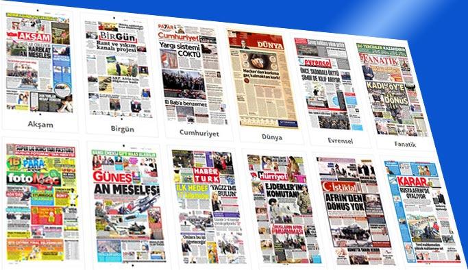 Gazete manşetleri 20 Ocak 2018