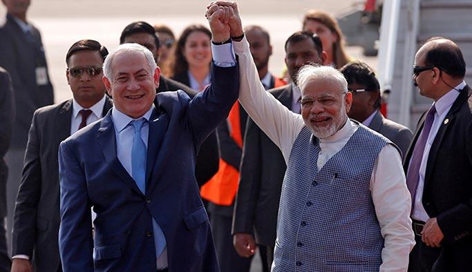 Hindistan'da Netanyahu'ya 'sıcak karşılama'