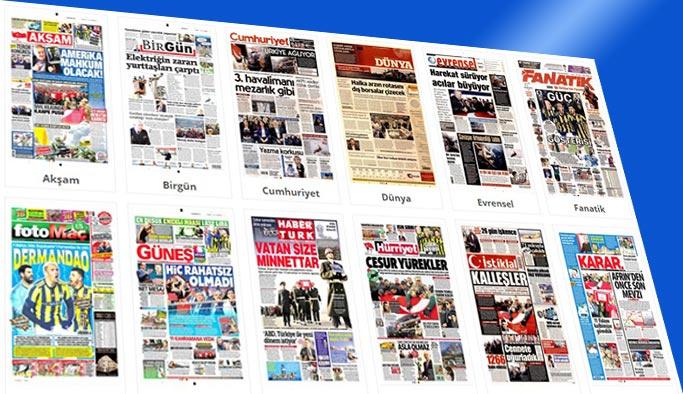 Gazete manşetleri 12 Şubat 2018