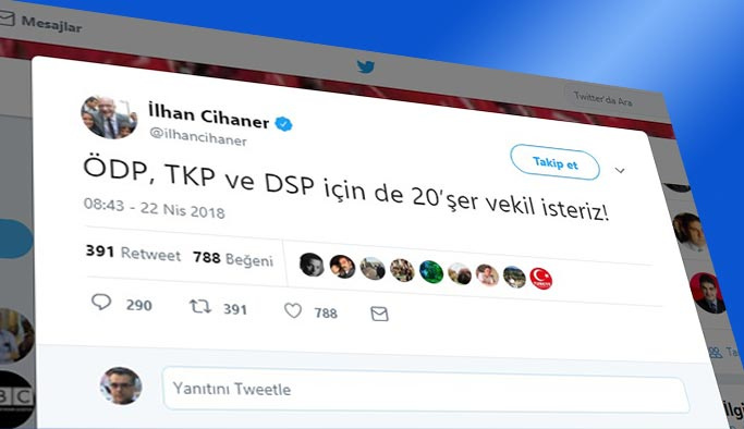 CHP'de isyan, sol partilere de 20'şer vekil isteriz