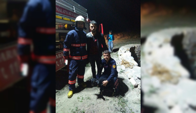 Malatya'da kuyuya düşen keçi yavrusunu itfaiye kurtardı