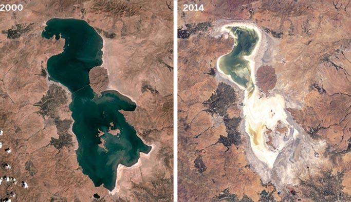 Urumiye Gölü bir yılda 23 kilometrekare küçüldü
