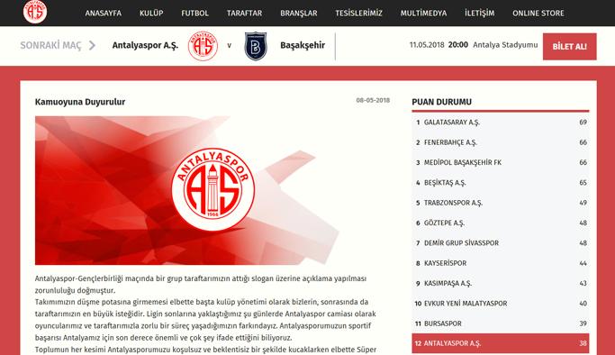 Antalyaspor yönetiminden İzmir Marşı açıklaması