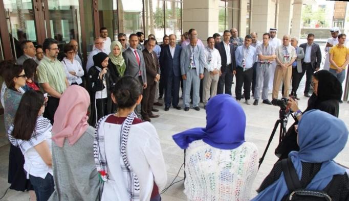 Katar'da Filistin ile dayanışma gösterisi