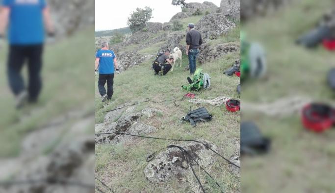 Kayalıklarda sıkışan köpeği AFAD kurtardı