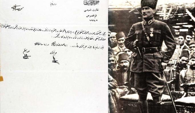 Sultan Vahdettin'in Mustafa Kemal Atatürk'e verdiği Samsun talimatının orjinal nüshası