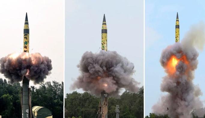 Hindistan 5 bin km menzilli balistik füzeyi test etti