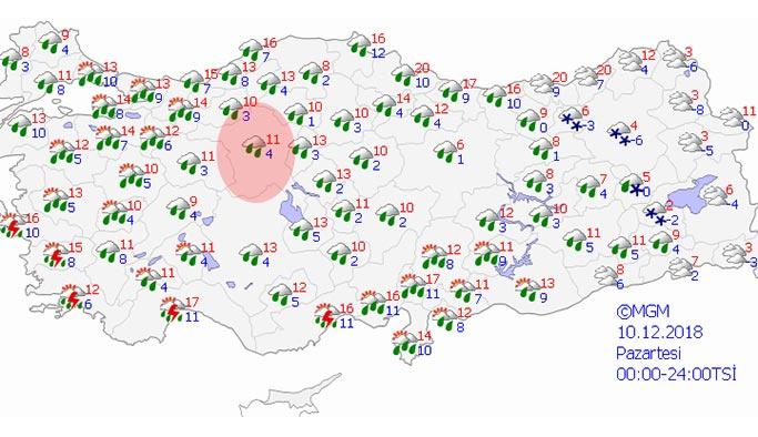 Ankara 10 Aralık Pazartesi hava durumu nasıl olacak?