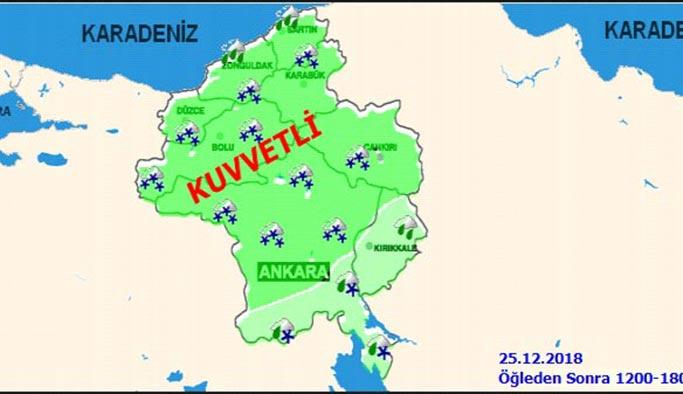 Ankara 25 Aralık 2018 Salı günü hava durumu nasıl olacak?