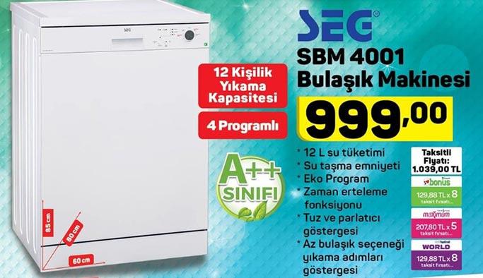 SEG marka bulaşık makinesi A101'de bu hafta 999 lira - 17 Ocak 2019 A101 Aktüel Ürünler Listesi