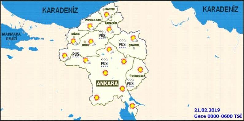 21 Şubat 2019 Ankara hava durumu - Haritalı