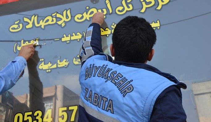Kurallara uymayan Arapça tabelalar söküldü
