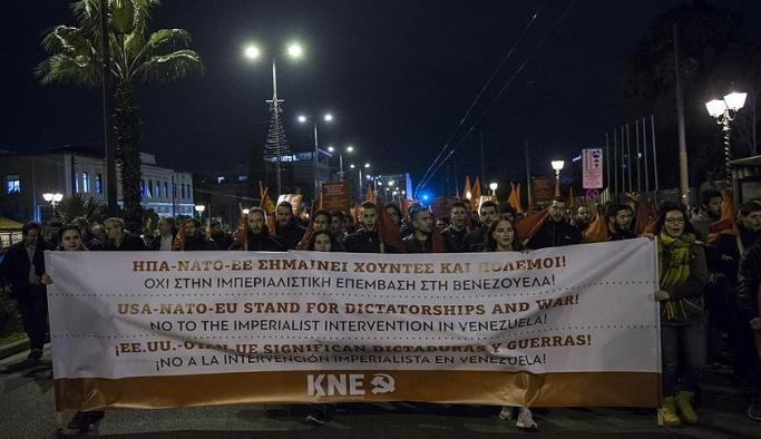 Yunanistan'da Maduro'ya destek yürüyüşü