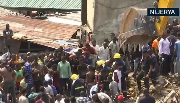 Nijerya'da okul binası çöktü, onlarca kişi altında kaldı