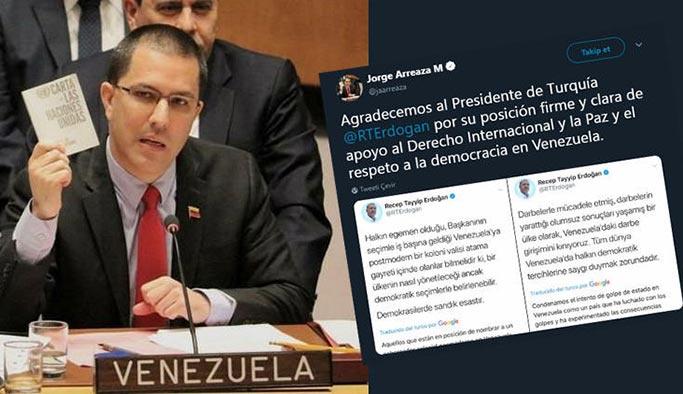 Venezuela'dan Cumhurbaşkanı Erdoğan'a teşekkür