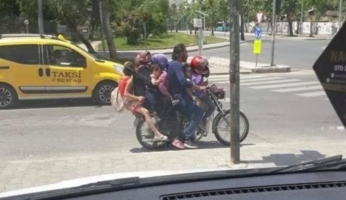 Beşi çocuk 7 kişi bir motosiklette