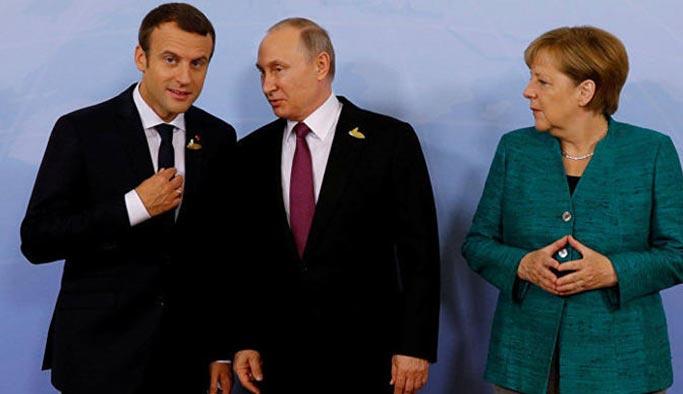 Putin, Suriye konusunu Macron ve Merkel ile görüştü