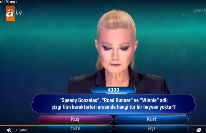 Speedy Gonzeles, Road Runner ve Winnie adlı çizgi film karakterleri arasında hangi tür bir hayvan yoktur?