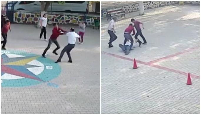 Okul bahçesinde öğretmeni döven baba-oğul tutuklandı