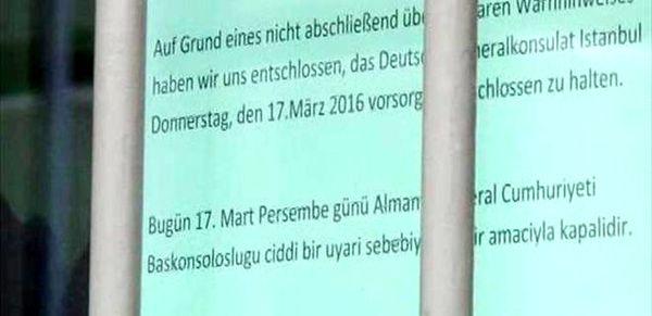 Alman büyükelçiliği ve konsolosluğu kapatıldı