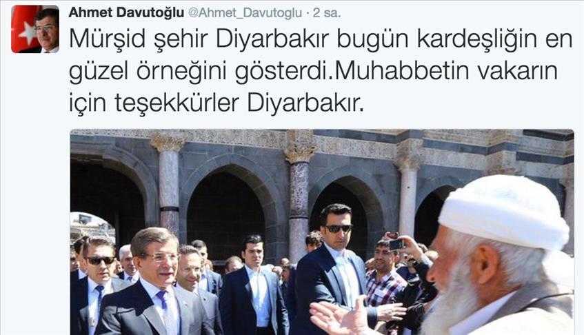 Davutoğlu'dan Diyarbakır halkına teşekkür