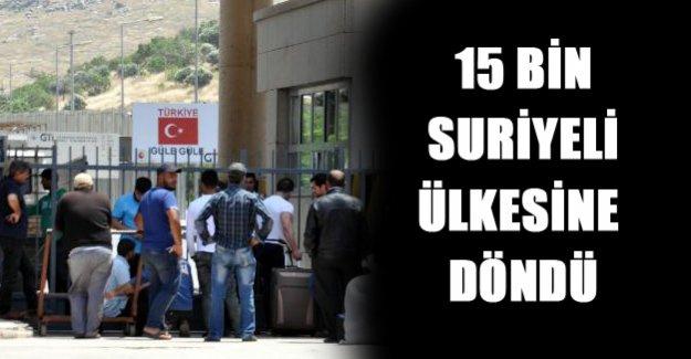 15 Bin Suriyeli geri döndü