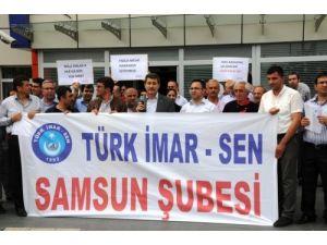 Tabu ve kadastro çalışanları 2/B mesaisi ödenmemesini protesto etti