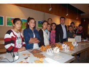 Köy okulu öğrencileri sergi düzenledi