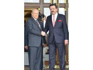 Devlet Bahçeli TOBB Başkanı Hisarcıklıoğlu'nu ziyaret etti