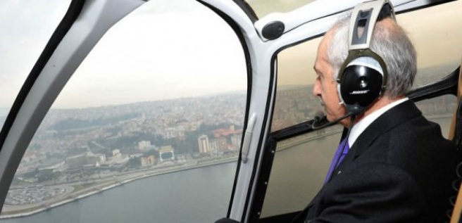 CHP genel başkanı Kemal Kılıçdaroğlu İzmir'i havadan inceledi