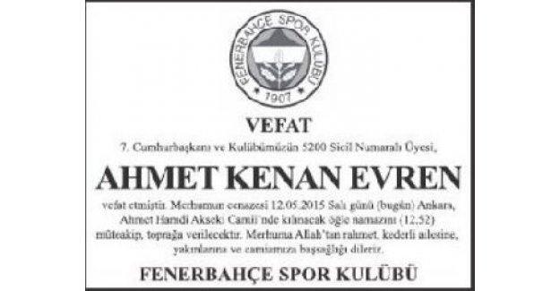 Fenerbahçe'den Evren için başsağlığı mesajı