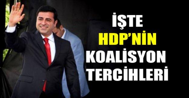 İşte HDP'nin koalisyon tercihleri