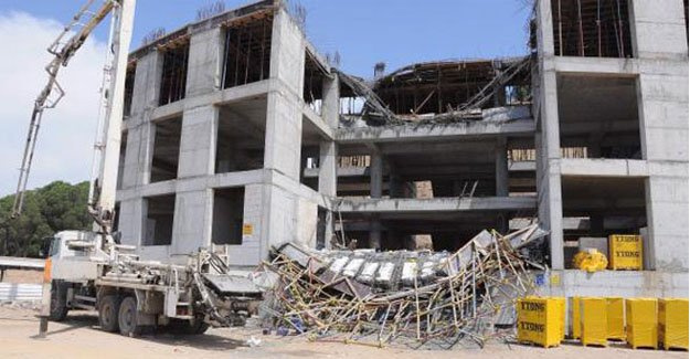 Kaymakamlık inşaatında 3 işçi yaralandı
