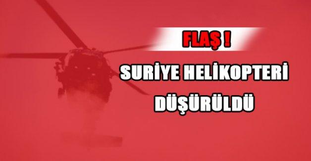 Suriye helikopteri düşürüldü