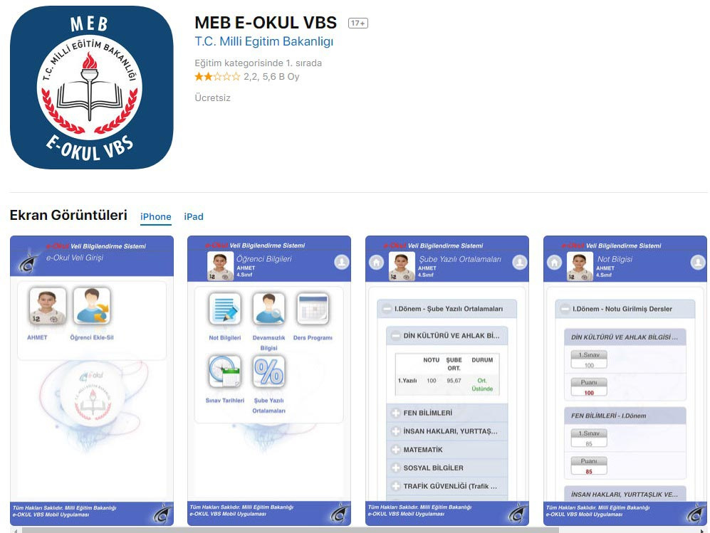 iphone ipad e Okul VBS indir linki