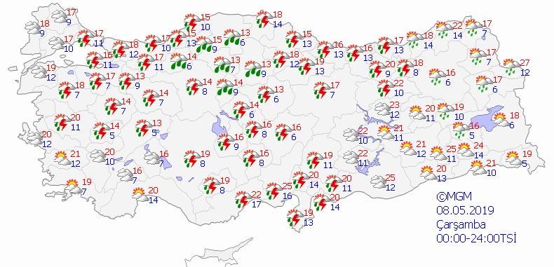 Türkiye genelinde 8-9 Mayıs 2019 hava durumu - Haritalı