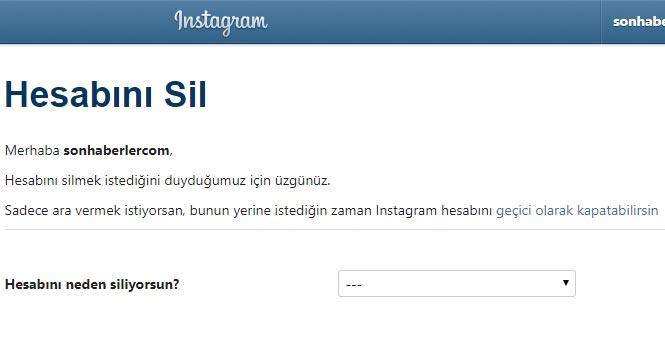 instagram hesap silme ekranı