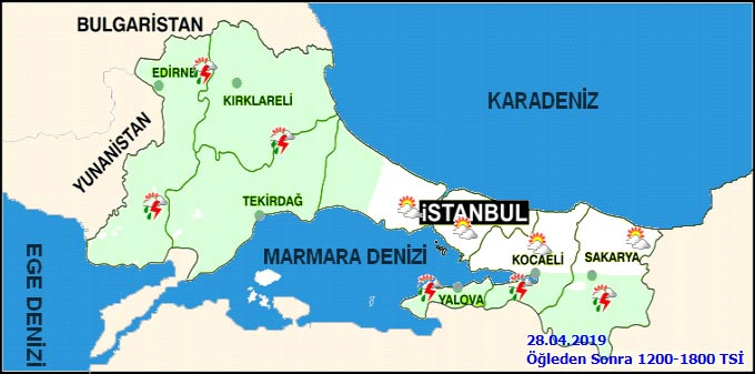 28 Nisan 2019 İstanbul hava durumu haritalı
