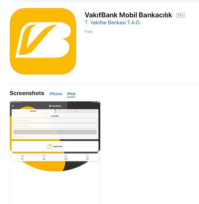 vakıfbank ipad uygulaması yükle